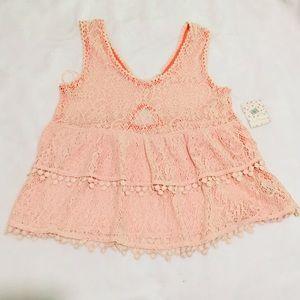 Free People Peplum Knit Blouse Size XS Pale Pink